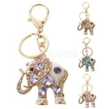 Crystal Rhinestone Elephant Keyring Charm Pendant Bag Purse Car Key Chain Ring