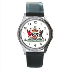 Trinidad And Tobago Coat Of Arms Leather Strap Watches (Battery Included)