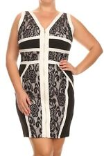 Plus Dress 1X 2X 3X Bodycon Lace Sheath Contrast Sexy Cocktail Black White Party