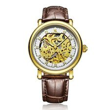 Luxury Men's Skeleton Watch Leather Band Analog Automatic Mechanical Wrist Watch