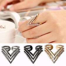 1Pc Punk Women Multilayer Triangle Open Crystal Rhinestone Rings Adjustable Band
