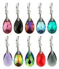 Sterling Silver Teardrop Earrings Safety Hooks with SWAROVSKI 6106 22mm Crystals