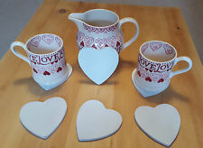 Shabby Chic Wooden White Set of 4 or 6 Shabby Chic Heart Coasters Drinks Mat