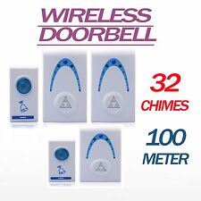 SINGLE TWIN WIRELESS Door Bell Wire Free Chime Set 32 Chimes 100m range Cordless
