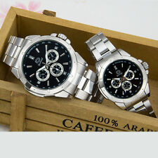 Lover's Watch Stainless Steel Leather Wristwatch Analog Quartz Couple Watches
