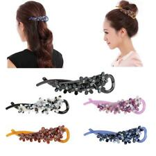 Elegant Lady Plastic Rhinestone Flower Banana Hair Clip Barrette Updo Hair Decor