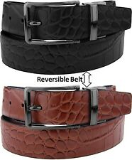 Men's Black Brown Reversible Leather Belt w/ Removable Buckle Crocodile Textured
