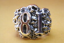 ROUTE 81 BIKER CHOPPER SILVER RING 925 SILVER SEAL RING / 373