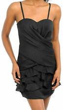 Dress S M L Cocktail Black Tiered Ruffle Removable Straps Strapless Flirty Mini