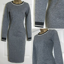 NEW EX M&S Limited Edition Ladies Grey Marl Bodycon Jersey Knit Dress Size 8-18