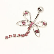 316L Stainless Steel Dragonfly Dangling Belly Naval Button Ring Piercing