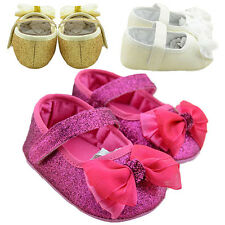 Baby Girl Nice Soft Sole Ribbon Bow Prewalker Shoes Infant Princess Sequin Shoes