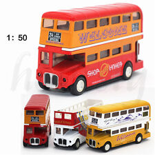 1:50 Alloy Double deck London sightseeing bus Model Car Bus Kid Toy Put Back Bus