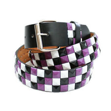 Studded Belt Black Purple White Pyramid Studs Removable Roller Silver Buckle New
