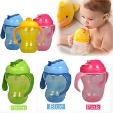 Baby Straw Infant Sippy Cup Learning Drinking BPA Free Handle Bottle