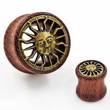 PAIR-Wood Brass Plated Sun  Ear Gauge-Hollow Ear Tunnel Plug-Piercing Jewelry