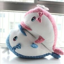 Polka Dot Whale Dolphin Lovers Pillow Cushions Plush Toys Blue Pink Xmas Gift