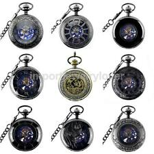 Unisex Punk Hollow Case Automatic Mechanical Chain Necklace Gifts Pocket Watch