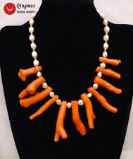 8*70mm Pink Branch shape Coral and 7-9mm White Baroque Pearl 18'' Necklac-6163