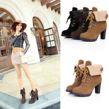 Womens Snow Boots Ankle Lace Up Heels Fashion Warm Thicken Shoes Martin Boots