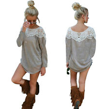 Womens Loose Casual Tops Shirt Blouse Hollow Lace Spliced Long Sleeve Mini Dress