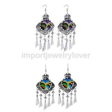 Women Retro Ethnic Boho Multicolor Embroidery Tassels Dangle Drop Earrings Guft