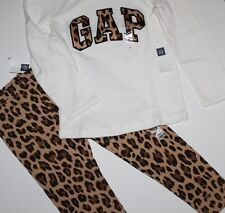 baby Gap NWT Girl's 6 12 Mo. Outfit Set Leopard Logo Top & Leopard Leggings