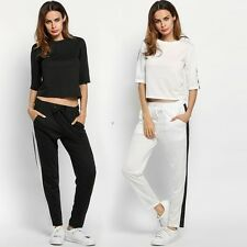 Fashion Women Casual Patchwork Long Sleeve Sport Sweatshirt And Pants Tracksuit