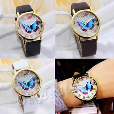 Stylish Numerals Faux Leather Band Butterfly Dial Wrist Watch Quartz Analog