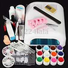Nail Art Tools Sets -36W White Lamp Dryer + 12 Color UV Gel Zebra Pen Brush Kit