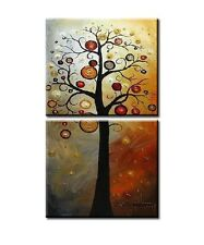 Abstract Canvas Happy Tree Wall Art Picture Modern Handmade Oil Painting Framed