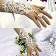 Elegant Lace Bridal Long Gloves Wedding Prom Party Fingerless with Floral Ring