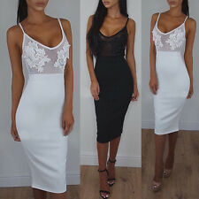 Women's Sexy Slim Fit Applique Sheer Mesh Sleeveless Evening Party Bodycon Dress