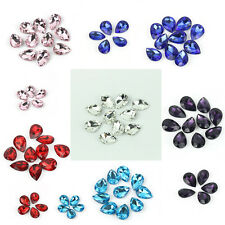 10pcs Lots Faceted Teardrop glass crystal Charm Loose Spacer beads DIY Decor