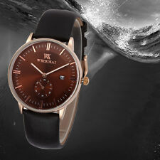Fashion Mens Date Analog Quartz Wristwatch Luxury Genuine Leather Business Watch