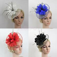 Flower Feather Fascinator Headband Women Wedding Races Parties Church Hat