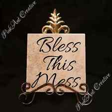 Bless this Mess Tiles with Saying and Stand Home Decor Kitchen Decorative Gift