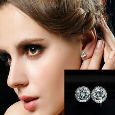 Princes Ear Stud Crystal Earring Crown 18K White Gold Plated