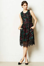 Anthropologie Terrace Sheath Dress Size 8, Black Lace Floral Lining By Wolven