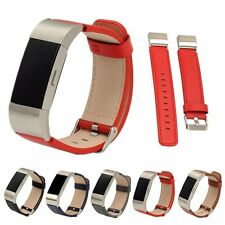 Luxury Leather Accessory Band Wrist Strap With Metal Buckle For Fitbit Charge 2