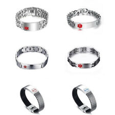 Surgical Medical Stainless Steel Medical Alert ID Chain Bracelet Staff Jewelry
