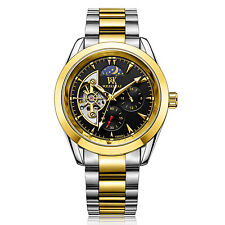 Hollow Automatic Mechanical Men Wristwatch Sun Moon Phase Stainless Steel Watch