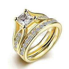 Stainless Steel Crystal Wedding Couple Lover Finger Ring Gold Tone US 6 7 8 9
