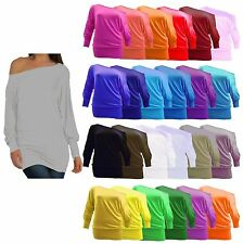 WOMENS LADIES OFF SHOULDER BAGGY BATWING LONG SLEEVE SLOUCH DRESS TOP PLUS SIZE