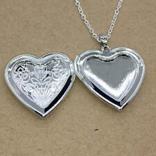 Fashion Without Necklace Silver Plated Love Heart Photo Charm Locket Pendant