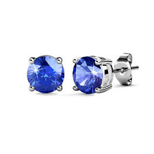 authentic sterling-silver Crystal Earrings Blue Crystals Stud Earrings Jewelry
