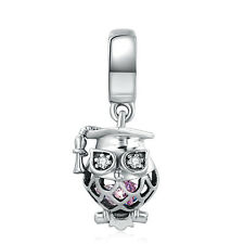 authentic sterling silver Owl Pendant Beads Mixed Crystal Hanging Charm Bead