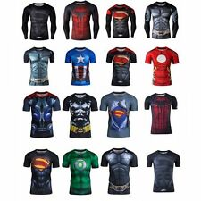 Men's Marvel Superhero Compression Tee T-shirt Short/Long Sleeve Cycling Clothes