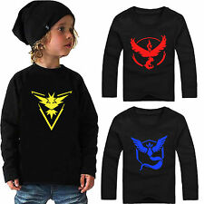 Pokemon Go Kids Baby Boys Girls Long Sleeve T-Shirts Casual Tops Clothes Age3-8Y