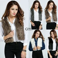 Women Sleeveless Vest Coat Jacket Sexy Overcoat Faux Fur Warm Waistcoat TXGT